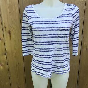 Roxy white/blue striped top size medium